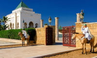 outside view of royal palace and guards in Rabat capital of Kingdom of Morocco