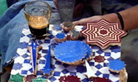 detail of zelige traditional crafts pottery cooperative Fes Morocco guided city tour