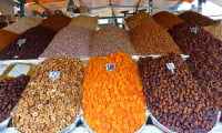 dried fruits food stall Jemaa el Fna square Marrakech Morocco