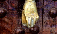 traditional crafts metal work Hand of Fatima door-knocker Morocco