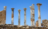 Stork nest Roman ruins Volubilis UNESCO excursion from Fes Morocco