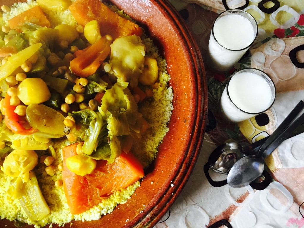 Moroccan Vegetable Couscous with Lamb, Served with Buttermilk and Eaten with Spoons