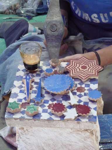 Detail star zellige handmade Moroccan tiles Potters Quarter Fes Morocco