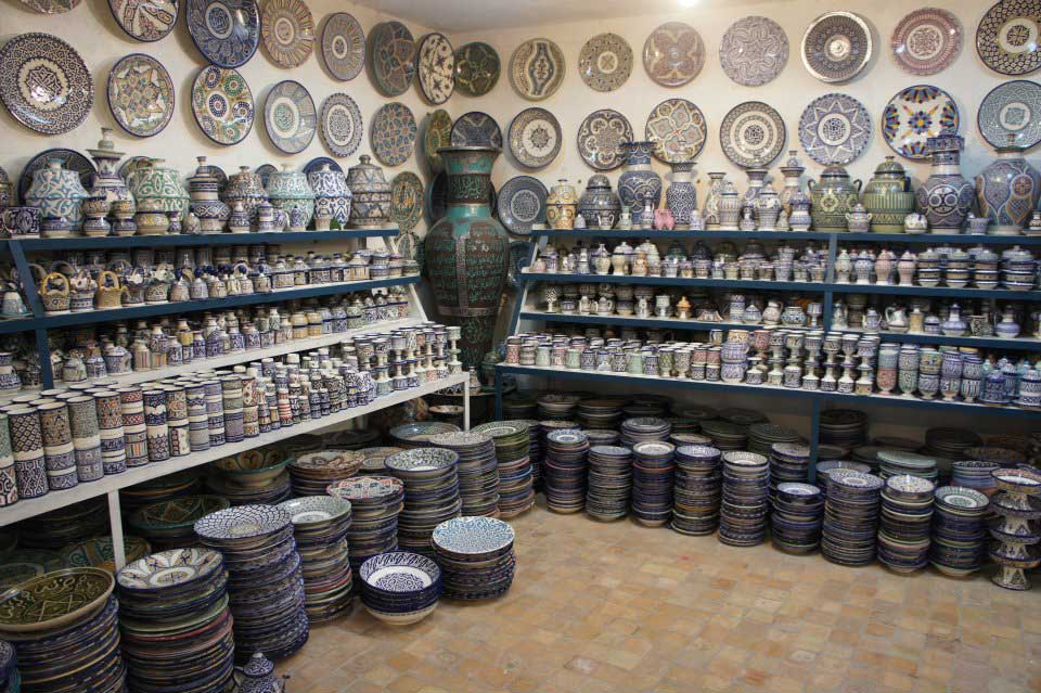 Shop traditional Moroccan pottery Pottery Village Fes Morocco