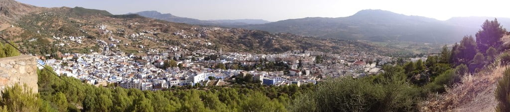 Panoramic View Chefchaouen against Rif Mountains Morocco