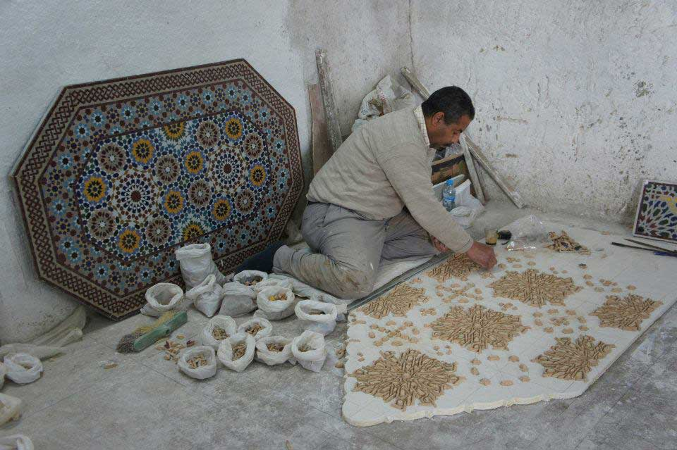 Traditional-Moroccan-tile-table-top-Pottery-Village-Ain Nokbi Fes-Morocco