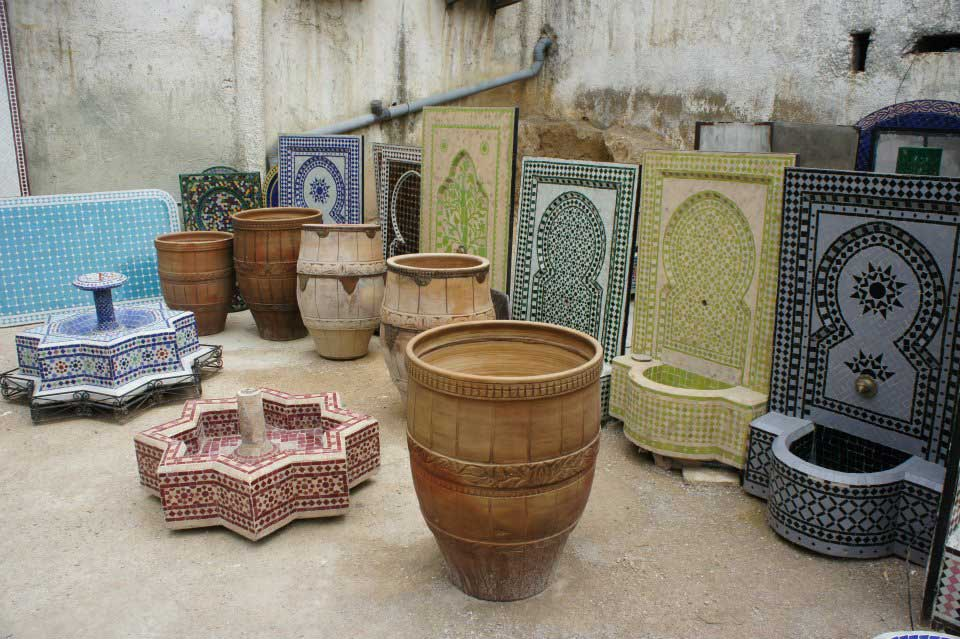 Traditional Moroccan tiles mosaic zellige fountains Pottery Village Ain Nokbi Fes Morocco