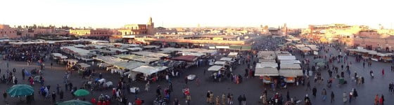 Sunset food stalls Jemaa El Fna Square Marrakech Morocco