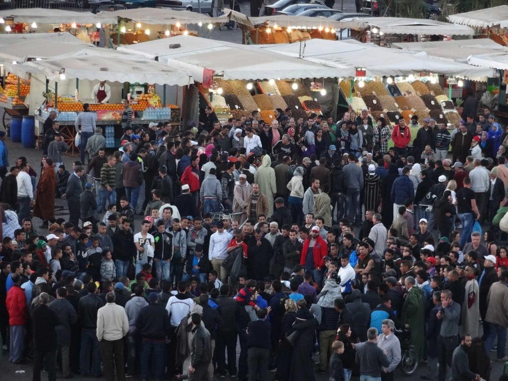 Food stalls Storytellers Jemaa El Fna Square Marrakech Morocco
